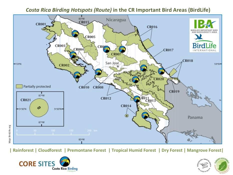 birding hotspots Costa Rica IBAS